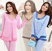 Spring Autumn Women Long sleeve Cotton Three-piece Pajamas Set Striped Sleepwear Night Sleep Wear Clothes Nightwear