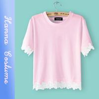 New arrival summer 2014 solid color chiffon t shirt fashion women tshirt top short sleeve t shirts woman clothing