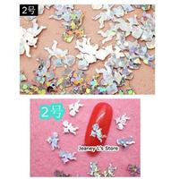 400pcs Cute Silver Cupid Shiny Sequin Confetti Glitter Nail Art Tips Decoration