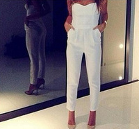 Free Shipping New 2014 Spring Women Overalls White Sexy V Strapless Playsuit Novelty Jumpsuits Summer Pencil Pants Leggings