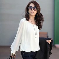 spring women's plus size puff sleeve loose top long-sleeve basic t-shirt lace chiffon