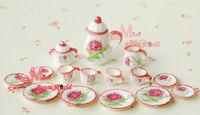 LOT OF 15 Carnation Dollhouse Miniature porcelain China Coffee Tea Lid Pot Cups Monster high