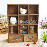 Zakka retro finishing drawer storage cabinet/ vintage pine 9 storage wooden box perfume cabinet