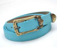 Vintage Carved Heart Thin Belt Women Decoration Antique Metal Buckle Belt Pigskin Leather Belts Straps PD1208