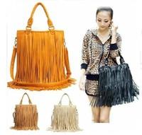 hot sale!Europe and America Bags Women Leather Handbags Tassel Shoulder Bags girl Big Handbag Messenger Bag Totes Bolsa Franja