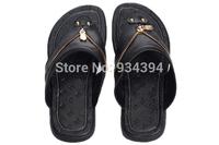 2014 New Men's Sandal Brand Designer Summer Causal Flats Shoes Genuine Letters Zipper Flip Flops Plus Size EU40-47 Free Shipping