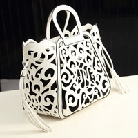 2014 hot selling hollow out pu leather bag tote bag women leather hollow bag