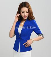 New Elegant Blue Spring Summer Women's Blazer Coat Jacket Tops Professional Business Work Wear Blazers Outwear Clothes S-XXXL