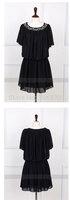 2014 Summer Fashion European and American Women Big Size Casual Dress O-Neck Beading Chiffon Dress Plus Size S-6XL