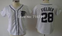 Free shipping Women Baseball Jerseys Detroit Tigers #28 Fielder White Embroidery logos shirts cheap china accept mix order