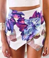 2014 Fashion LOVEGIRL Flower Print shorts Women Brand Pom Short Asymmetrical Skirt Shorts Summer Flower Print Hot Pants