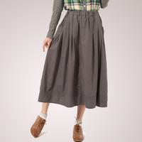 Fluid bust skirt 14 spring solid color all-match linen skirt medium skirt female 100% cotton skirt female
