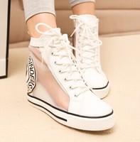 Hot Sales 2014 Sliver+ White Hidden Wedge Heels Casual shoes Women's Elevator High-heels Sneakers for Women Summer High Boots