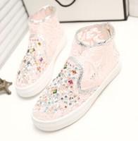 WHITE+PINK 2014 New Rhinestone Diamond Paillette Gauze Lace High Casual Sandals Platform Shoes Sneaker For Women Summer Shoe
