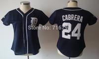 Free shipping Women Baseball Jerseys Detroit Tigers #24 Miguel Cabrera Blue White Sewn Logos shirts cheap china accept mix order