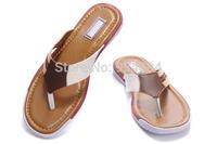 Hot Sale 2014 New Men's Sandal Brand Designer Summer Slides Causal Shoes Genuine Leather Zipper Flip Flops Plus Size EU40-47