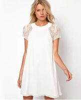 2014 spring summer new women clothing lace short sleeve white back chiffon sexy casual dress Plus