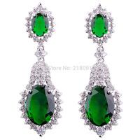 Teardrop Clear/Emareld&sapphire  Cubic Zirconia Drop Earrings 24K White gold filled  Earrings