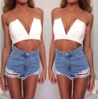 2014 Free shipping Top fashion sexy V-neck Tee White Tops