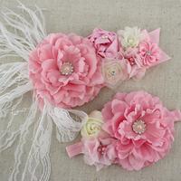 2pcs/set pink white ivory baby girl flower sash matching peony flower headband mom baby shower sash