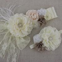 2pcs one set ivory white fabric peony flower sash baby girl flower sash matching headband chiffon flower headband