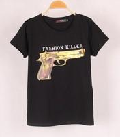 2014 fashion summer Cotton women's Short Sleeve Gun Print T Shirt for Women, Comfortable Wear Short Sleeve Gun Printed Top Tee