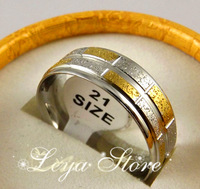 6PCS Gold and silver Stripe band Polishing Dome stainless steel ring