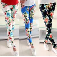 2014 new women long leggings womens fashion floral legging pants flower print blue black white women's casual slim fit cotton