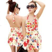 New 2014 halter Swimming Dress Skirtini one piece swimsuit Women floral swimdress