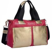 New 2014 High Quality Women Handbag 100% Genuine Leather Women Handbags Gold  Women Messenger Bags Large Size Bolsas Travel Bag