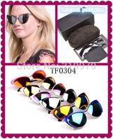 2014 Luxury coating cat eyes women band  sun glasses  USA fashion design vintage  eyeglasses TF0304 sunglasses