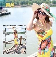 2014 Sell one like this Deep V Collar Peacock Bohemia Summer Long Beach Dress knee length Dress Hotsale New wholesale