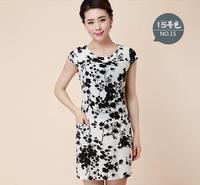 2014 New Fashion Women Summer dress Slim Tunic Milk Silk print Floral dresses Casual Plus Size sexy bodycon dress vestidos XXXXL