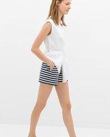 Newest Summer Women Fashion Rude Striped Zipper Fly Straight Short,Ladies Brief Pockets High Waist Homewear Loose Hot Short k87