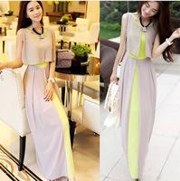 2014 Summer Maxi Chiffon Bohemian Beach Long Dress Women's Fashion Patchwork O-neck Sleeveless Elegant Dresses Plus Size S-XL