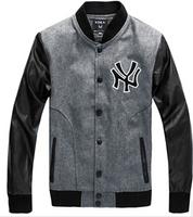 XXL Plus size 2014 British fashion high quality Men's leather Brand woolen embroidered leather baseball uniform jacket