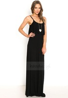 HIGH QUALITY! LONG DRESS Black Ruffles Strap women's dress girl fashion dress XS-XXL, 141516241