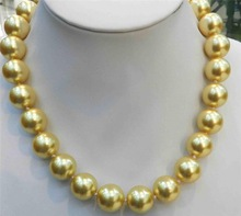 """Discount!!DIY Fashion!12mm Golden South Sea Shell Pearl Necklace 18"""" AAA+ beads jewelry making AAA+++ about33pcs/strands(China (Mainland))"""
