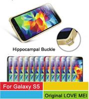 S5 Aluminum Bumper,Original LOVE MEI Hippocampal Buckle Metal Frame Case For Samsung Galaxy S5 G900 With Retail Box 10pcs/l