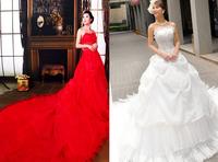 New 2014 custom made red and white wedding dress flower high waist wedding dress bandage 1 meter train only wedding dress X195