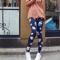 Autumn fashion skull 100% cotton ankle length trousers legging