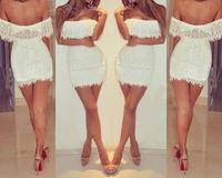 Women Summer Slash Neck Dress  White Cropped Outfit Lace Dress 2014 mini sexy dress