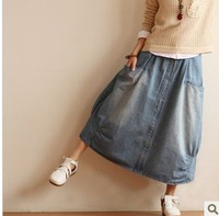 Autumn button lantern skirt full Size fits all denim skirt bust all-match women's