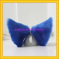 Free Shipping Lolita Maid Party Hair Clip Blue Headwear,Fox Cat Ears,100g/pair
