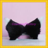 Free Shipping Cute Maid Cosplay Party Hair Clip,Black Headwear Ears With White,100g/pair