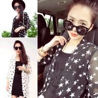 2014 summer sun protection clothing basic short-sleeve shirt chiffon shirt female three quarter sleeve half sleeve sun