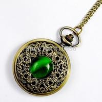 Vintage Emerald stone pocket watch Green Necklace woman Jewelry Gothic new 2014 fashion retro Dropshipping Elf Eye