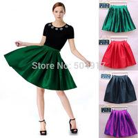 2014 European Metallic Chameleon Fabric Pleated maxi long skirt Sheds Tutu Skirts Black Wine red Green Purple Women 3512