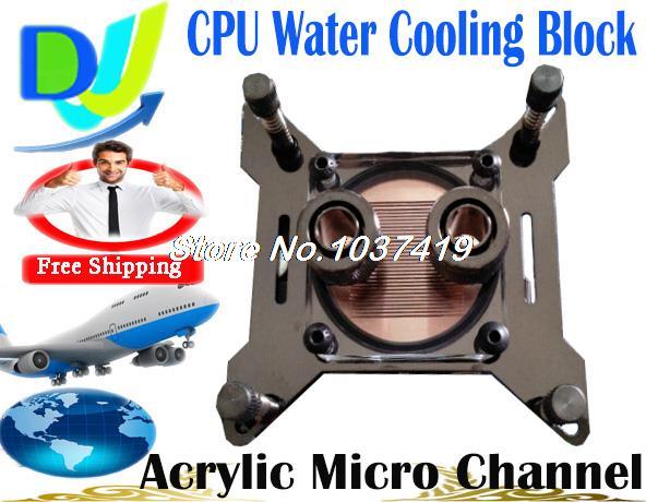 G1 / 4 transparente acrílico água do radiador waterblock cooler bloco de resfriamento de água CPU canal Micro para Intel AMD comum(China (Mainland))