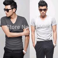 2014 Men's clothing base Solid color V-neck slim t-shirt hot-selling basic shirt short-sleeve T-shirt